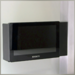 BookIT Room Scheduling System has a variety of mounting solutions. This one features the mullion mounting bracket.